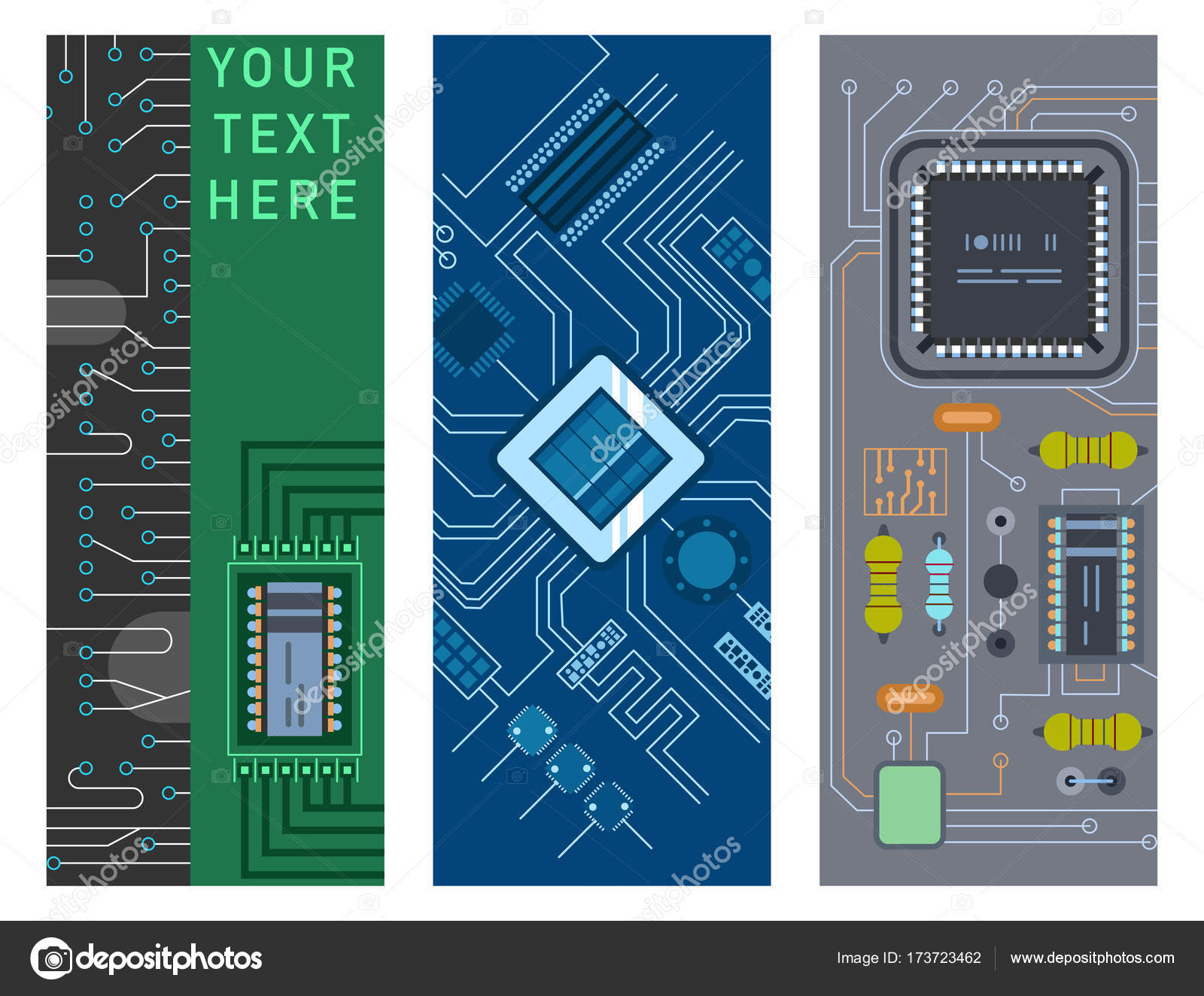 Computer Ic Chip Template Microchip Brochure Circuit Board Design Here Is The Printed Click On It To Realistic Black Detailed Abstract Background Vector Illustration