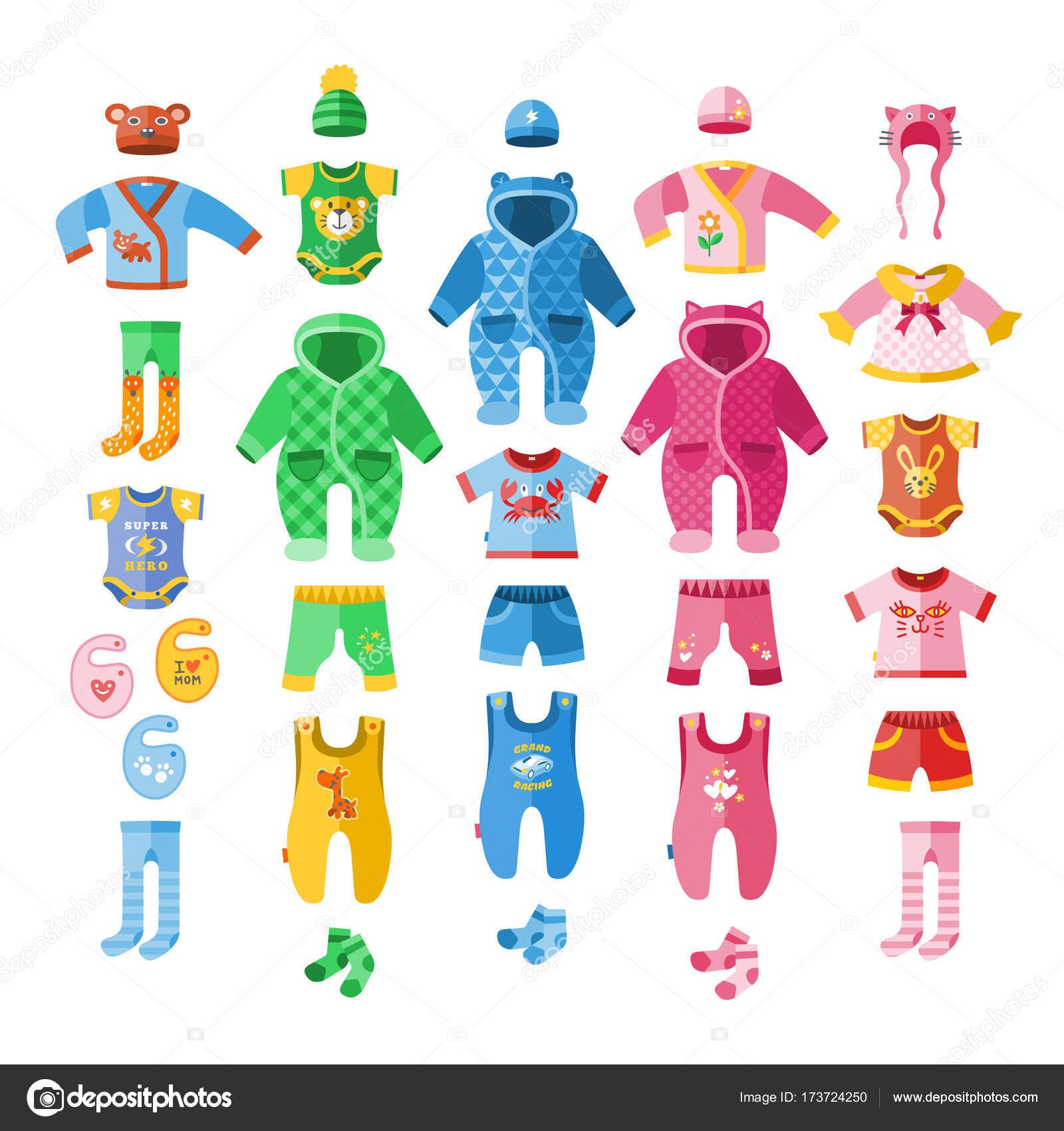 c832369577 Vestem roupas de ilustração vetorial infantil bebê têxtil ícones conjunto  da tela de desenho-conjunto
