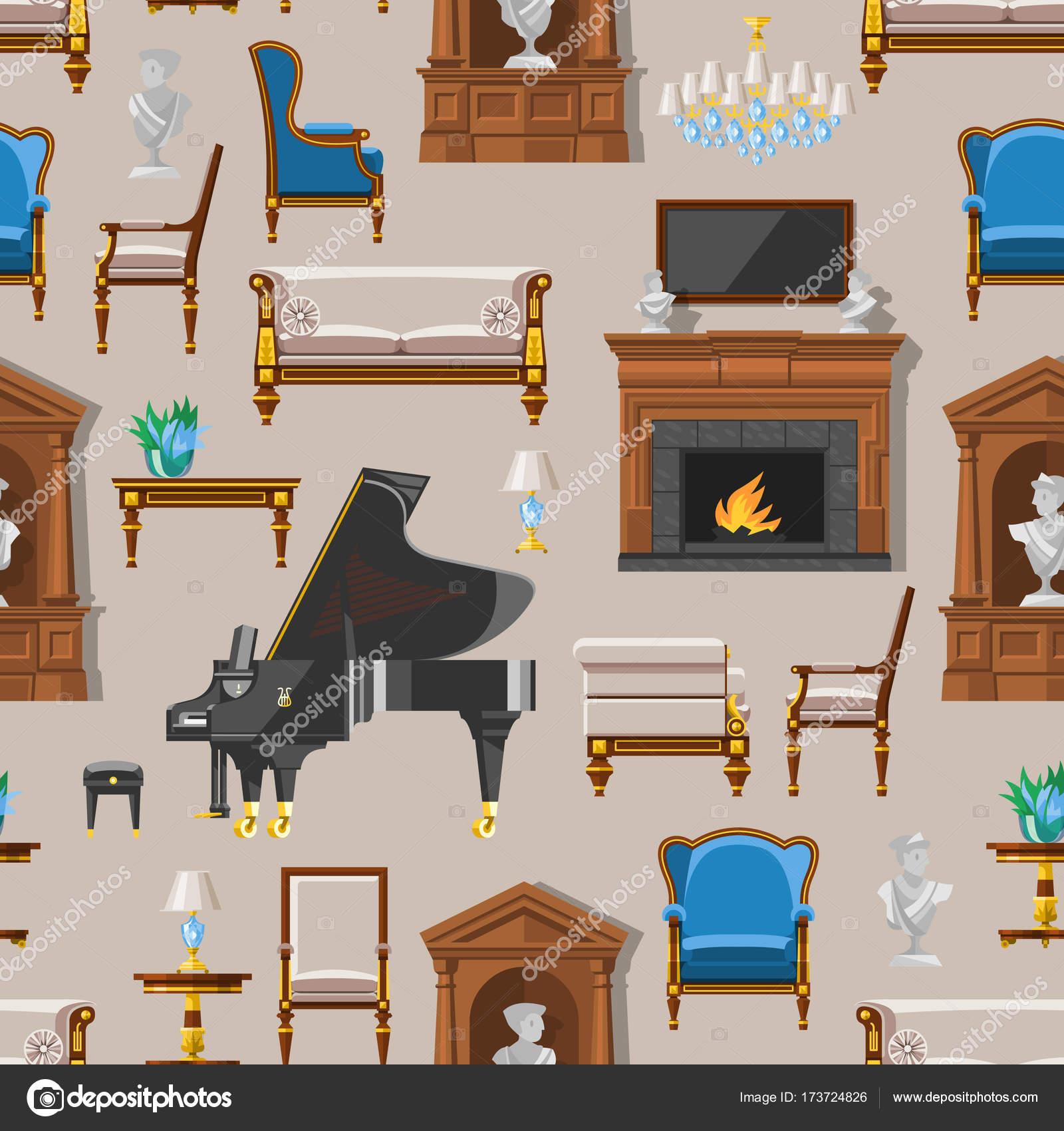 Sala De Casa Rica Rica De Muebles Interiores Vintage Vip Con Sof  # Muebles Fiction