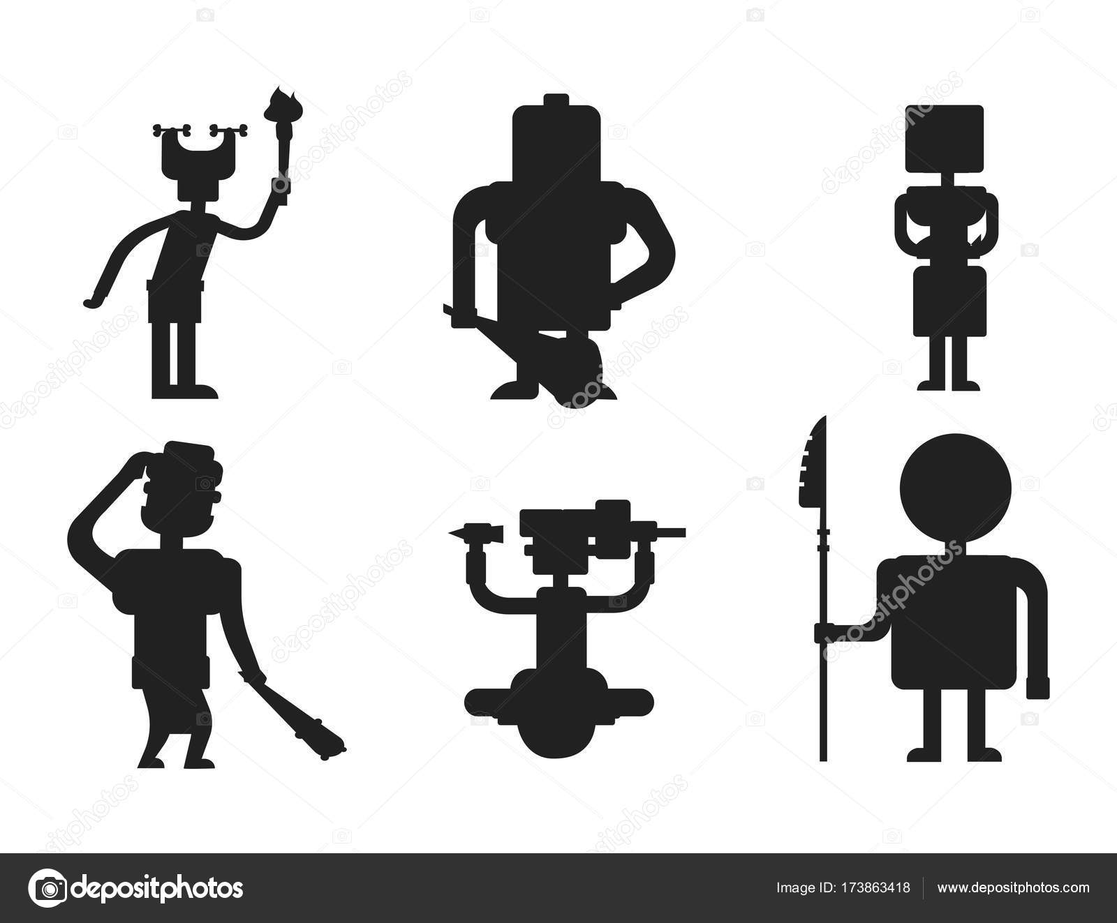 穴居人の原始石黒シルエット時代のネアンデル タール人の漫画 ...