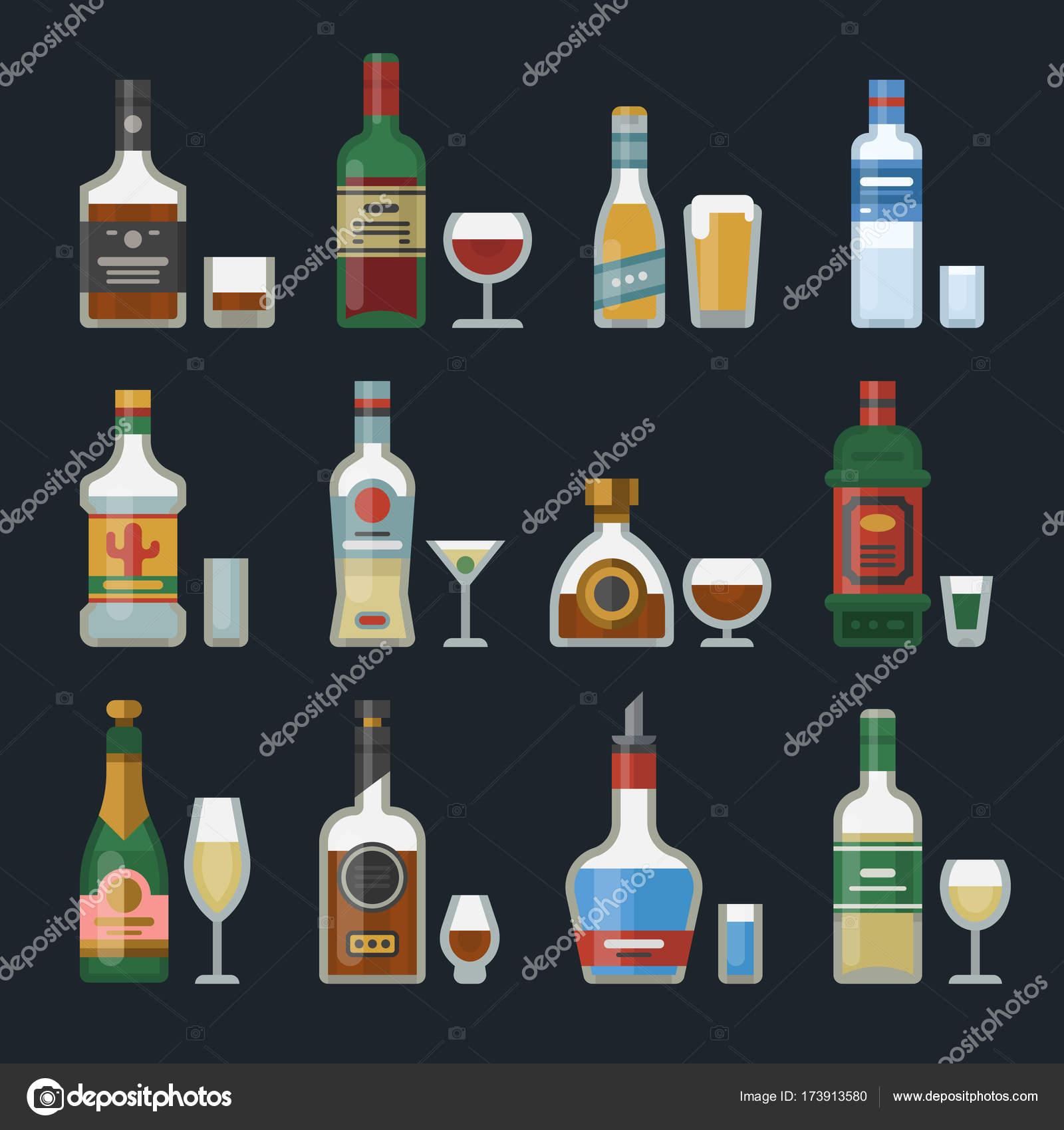 Starker Alkohol Getränke in Flaschen cocktail-Gläser Whisky Cognac ...