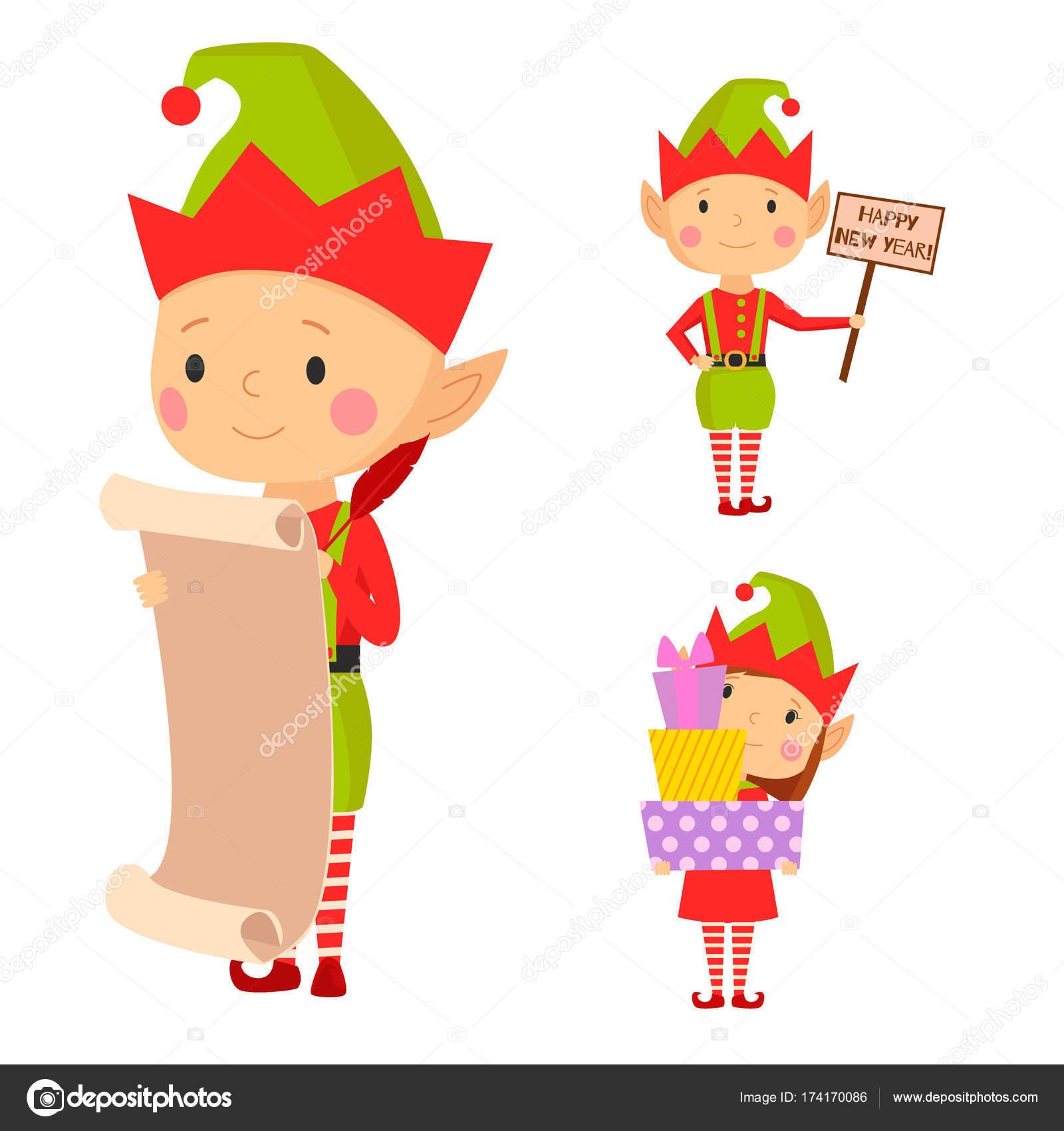 Ayudantes de elfo de Santa Claus niños cartoon vector ilustración ...