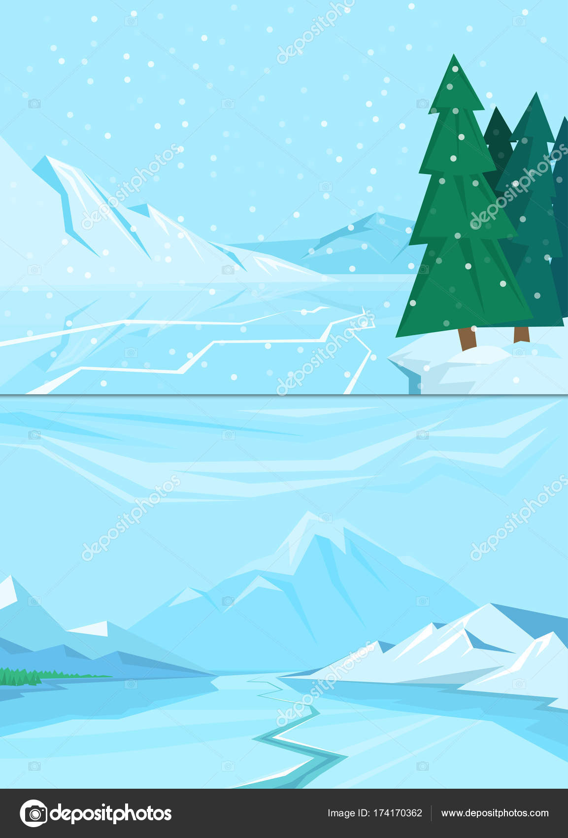 Winter Landscape With Christmas Tree Mountain Frozen Nature Wallpaper Beautiful Natural Vector Illustration Stock