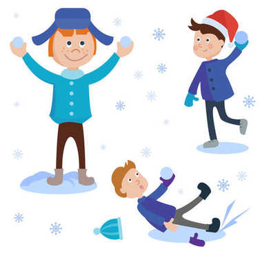 Christmas kids playing winter games. Skating boy makes snow man, children playing snowballs. Cartoon New Year winter holiday background. stock vector