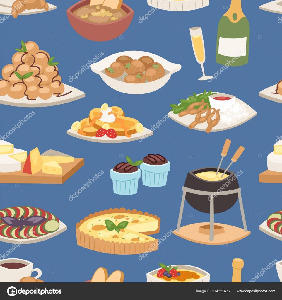 Vector de comida francesa tradicional cocina comida for Almuerzo en frances