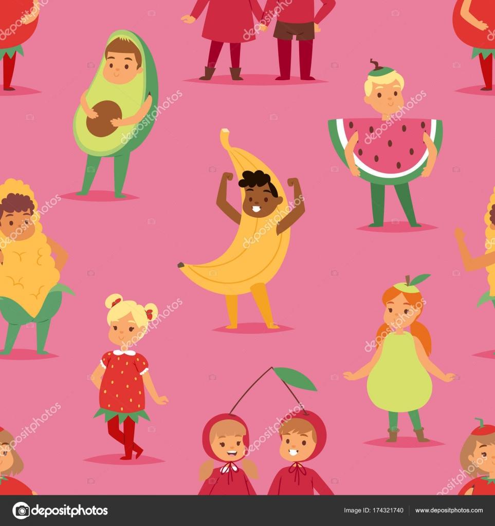 Niños niños fiesta frutas traje a vector dibujos animados máscara y ...