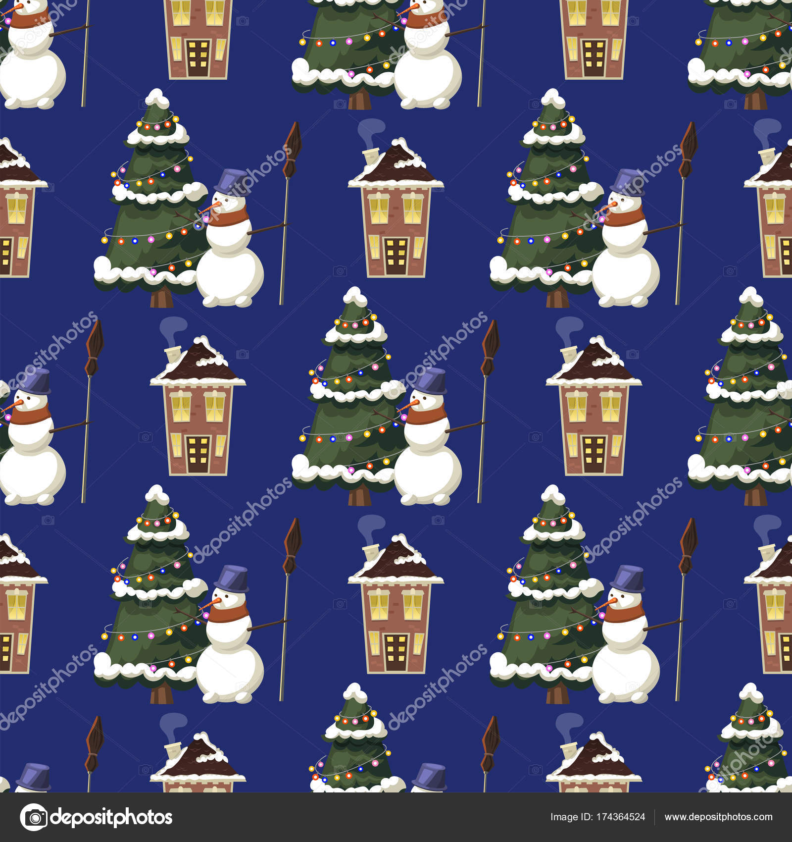 Winter Landscape With Christmas Houses Firtree Seamless Pattern Frozen Nature Wallpaper Beautiful Natural Vector Illustration