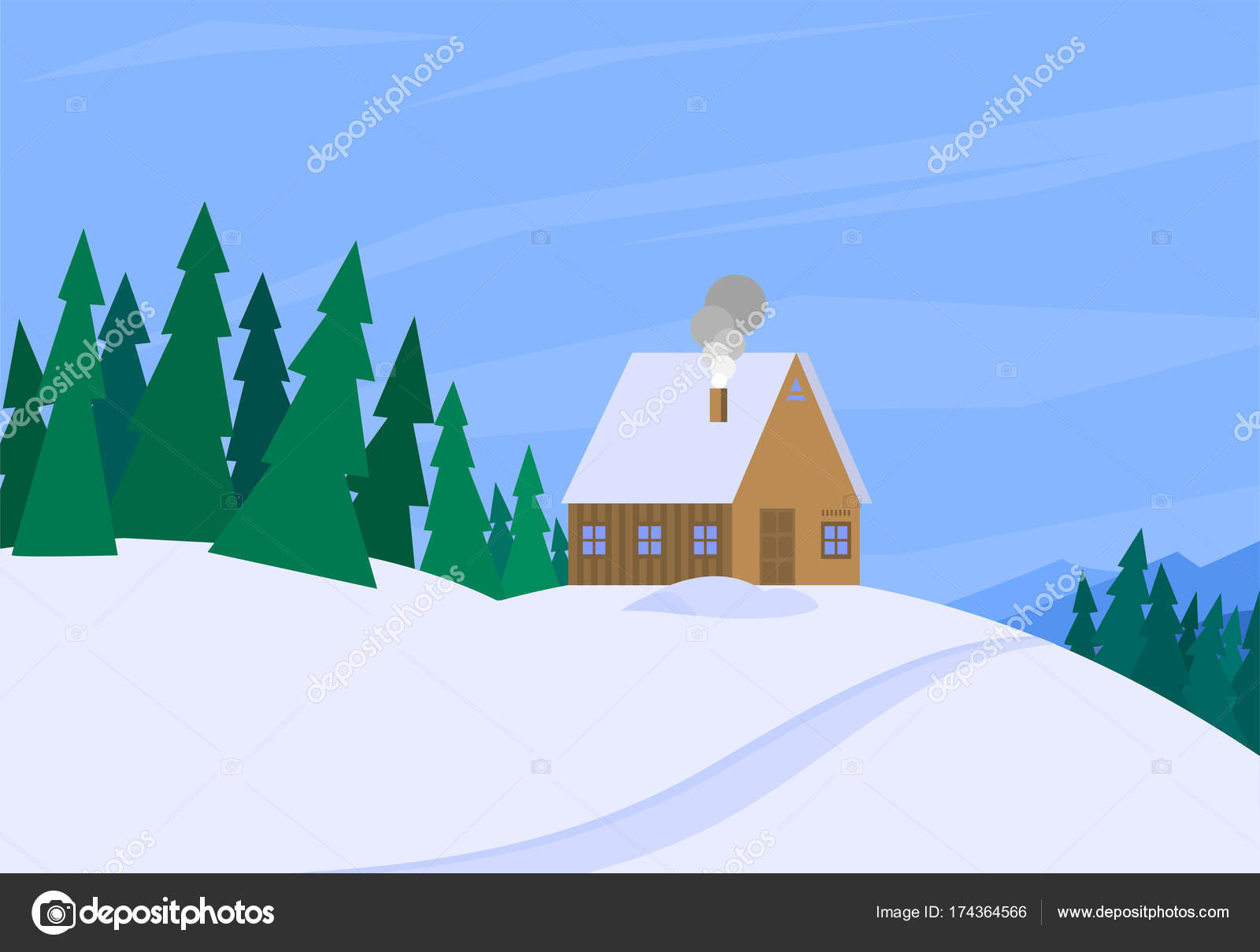 Winter Landscape With Christmas Tree Mountain Frozen Nature Wallpaper Beautiful Natural Vector Illustration Vector Image By C Vectorshow Vector Stock 174364566