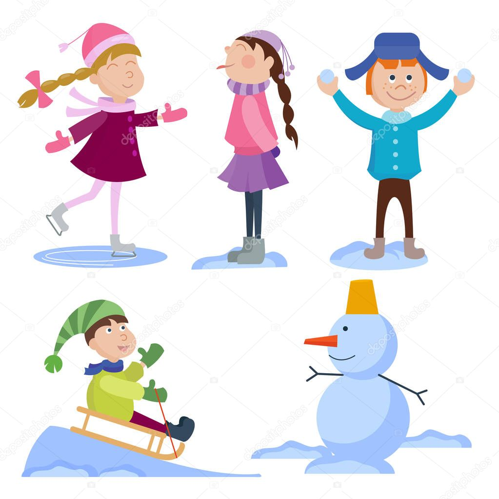 Christmas kids playing winter games. Skating, skiing, sledding boy makes snow man, children playing snowballs. Cartoon New Year winter holiday background. stock vector