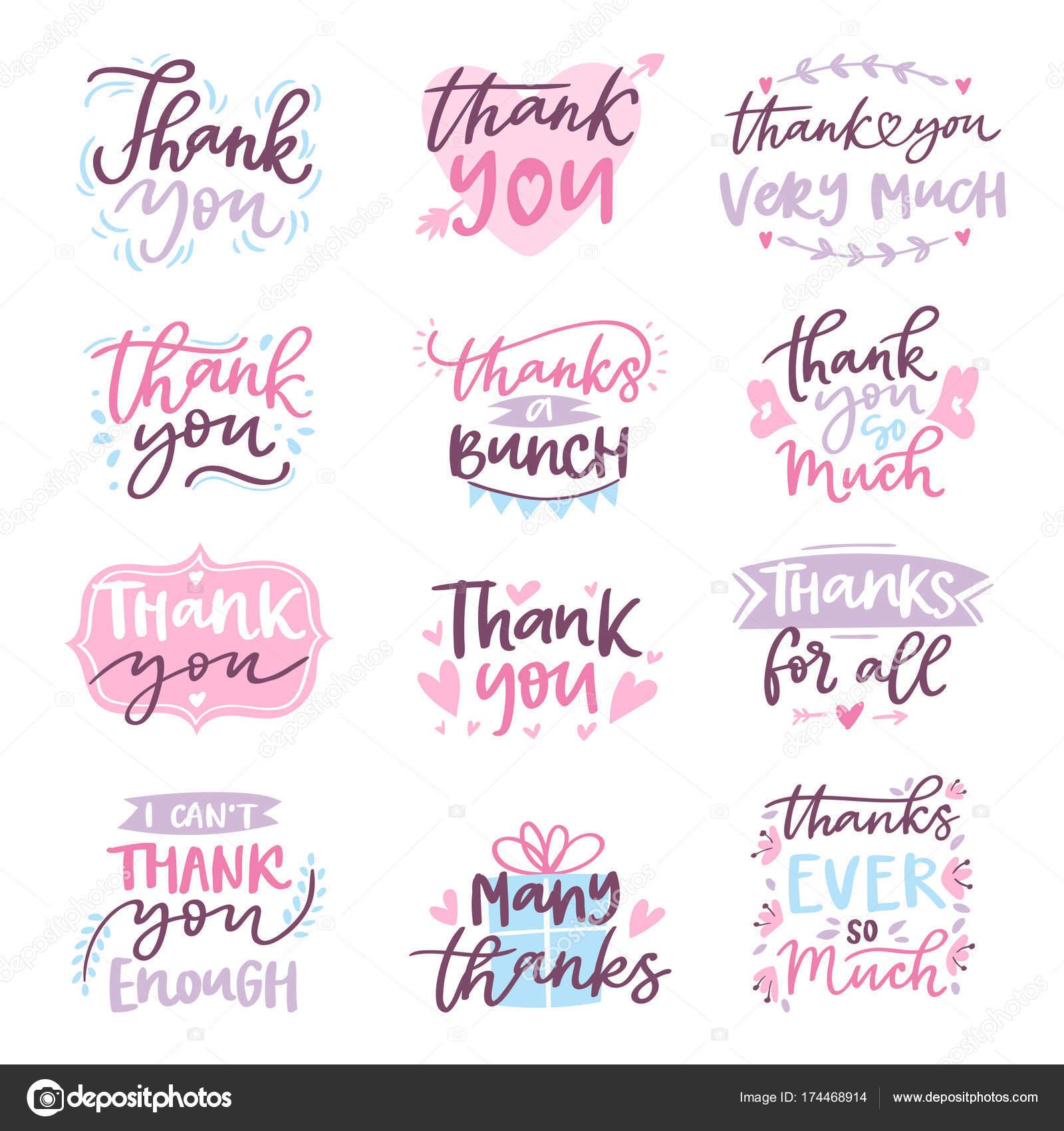 Danke Vektor Karte Text schreiben Skript Typografie Illustration ...