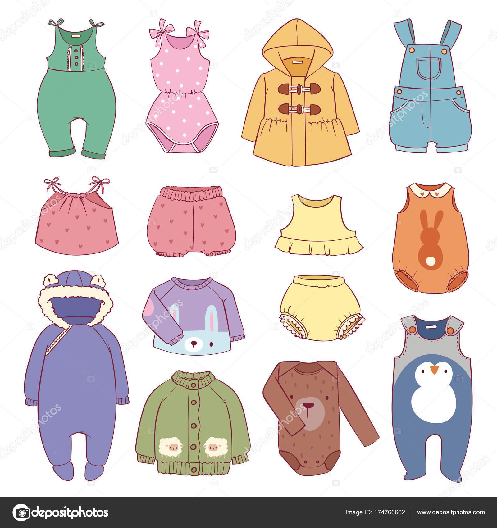 4f678bb4eea Σετ εποχικά βρέφος ρούχα για παιδιά και εικονογράφηση διάνυσμα Βρεφικά  παιδαριώδης πανί Βρεφικά μόδας — Διανυσματικό