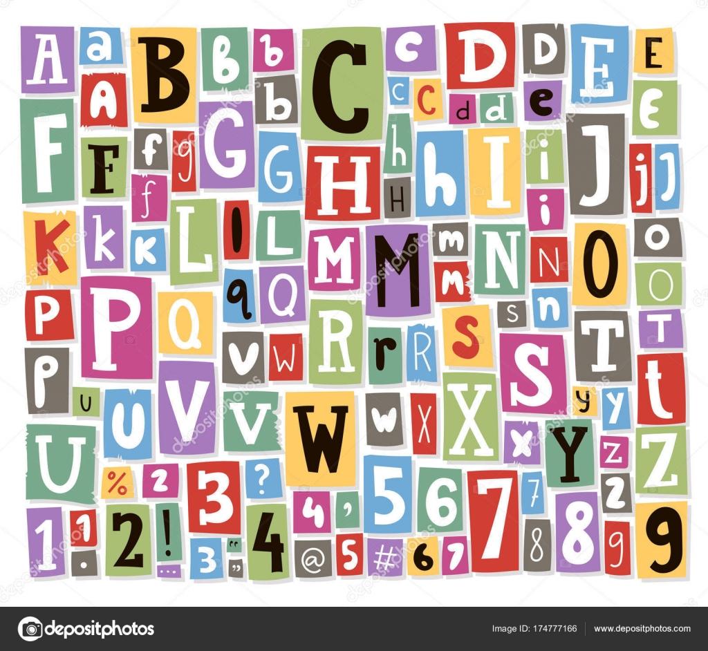 lettres de l alphabet color vecteur fait du journal magazine police abc papier texte collage. Black Bedroom Furniture Sets. Home Design Ideas