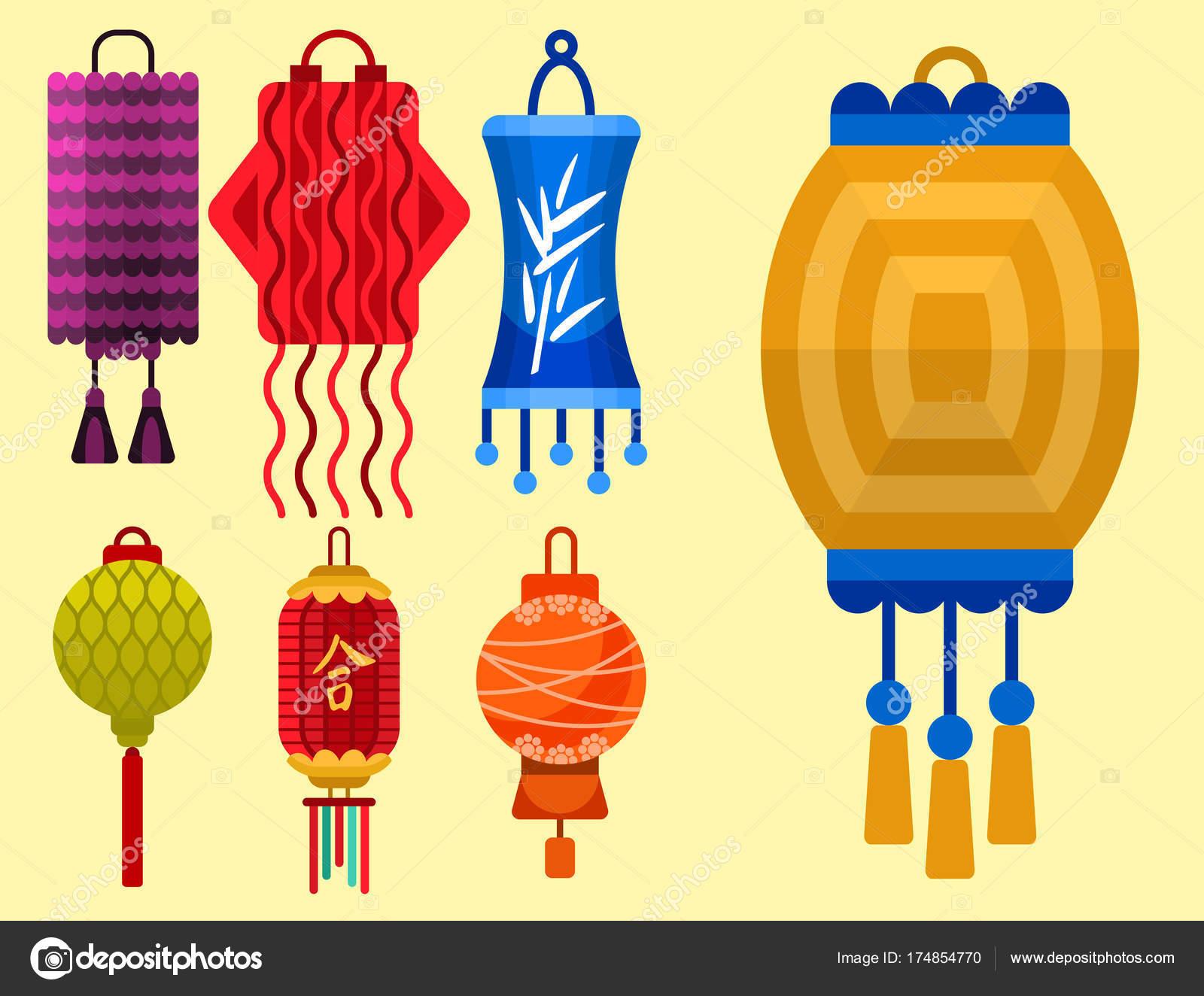 Vacances De Papier Lanternes Chinoises Celebrer Illustration