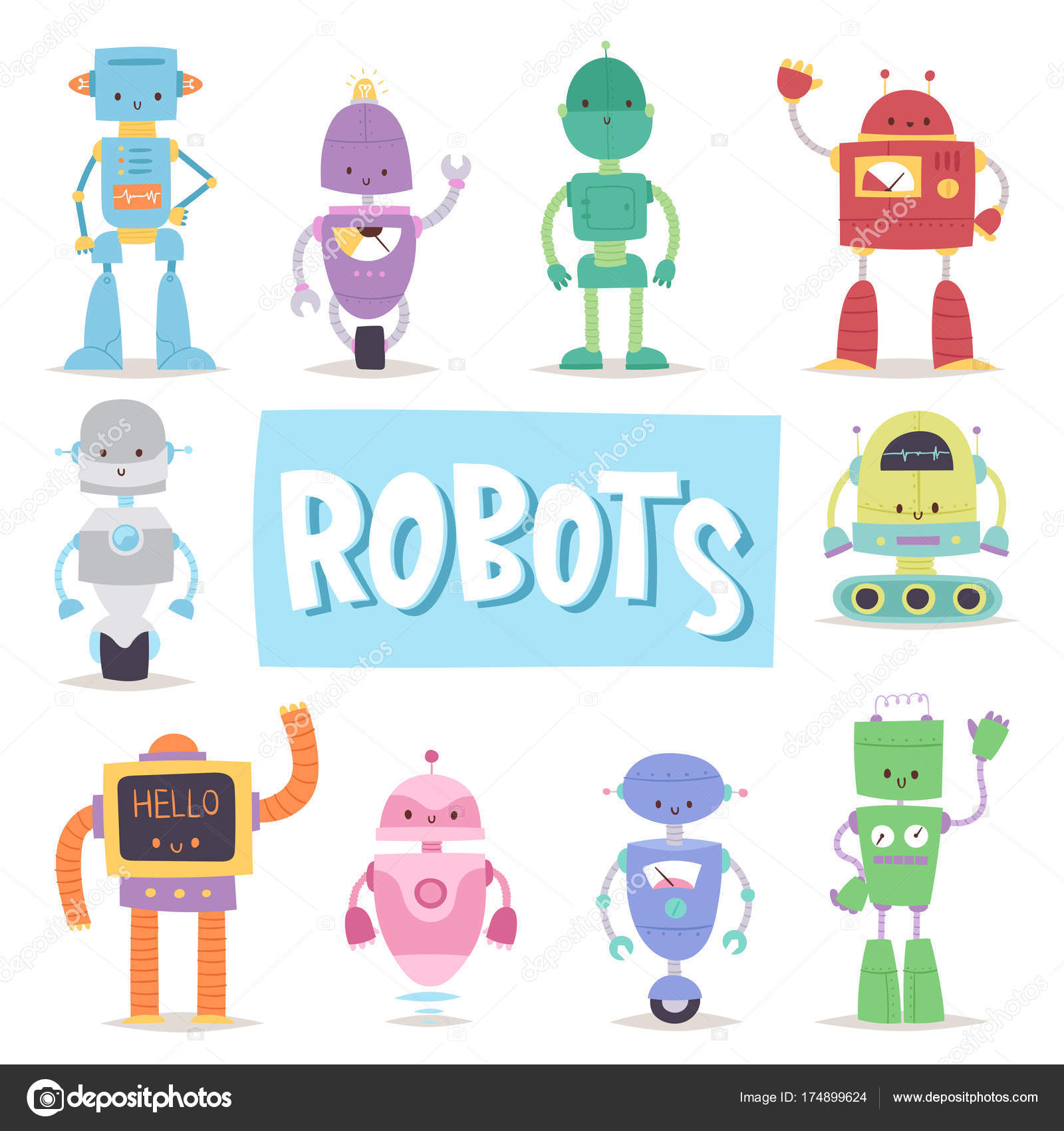Robots y juguetes de dibujos animados retro de androides ...