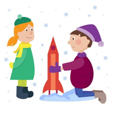 Christmas kids playing winter games boy makes rocket children playing snowballs. Cartoon New Year winter holiday background. stock vector