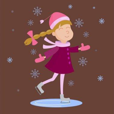 Christmas girl playing winter games. Skating skiing kid playing snowballs. Cartoon New Year winter holiday background. stock vector