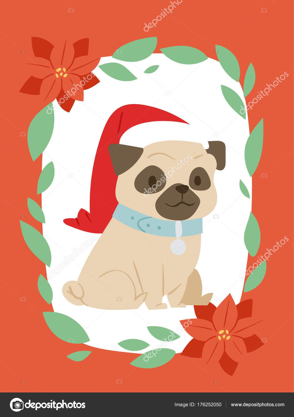 Vecteur De Carte Noel 2018 Chien Mignon Dessin Anime Chiot