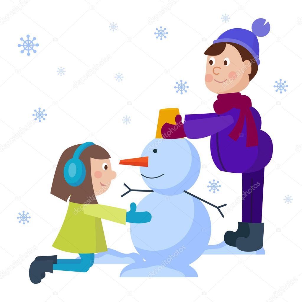 Christmas kids playing winter games. Boy makes snow man, children playing snowballs. Cartoon New Year winter holiday background. stock vector