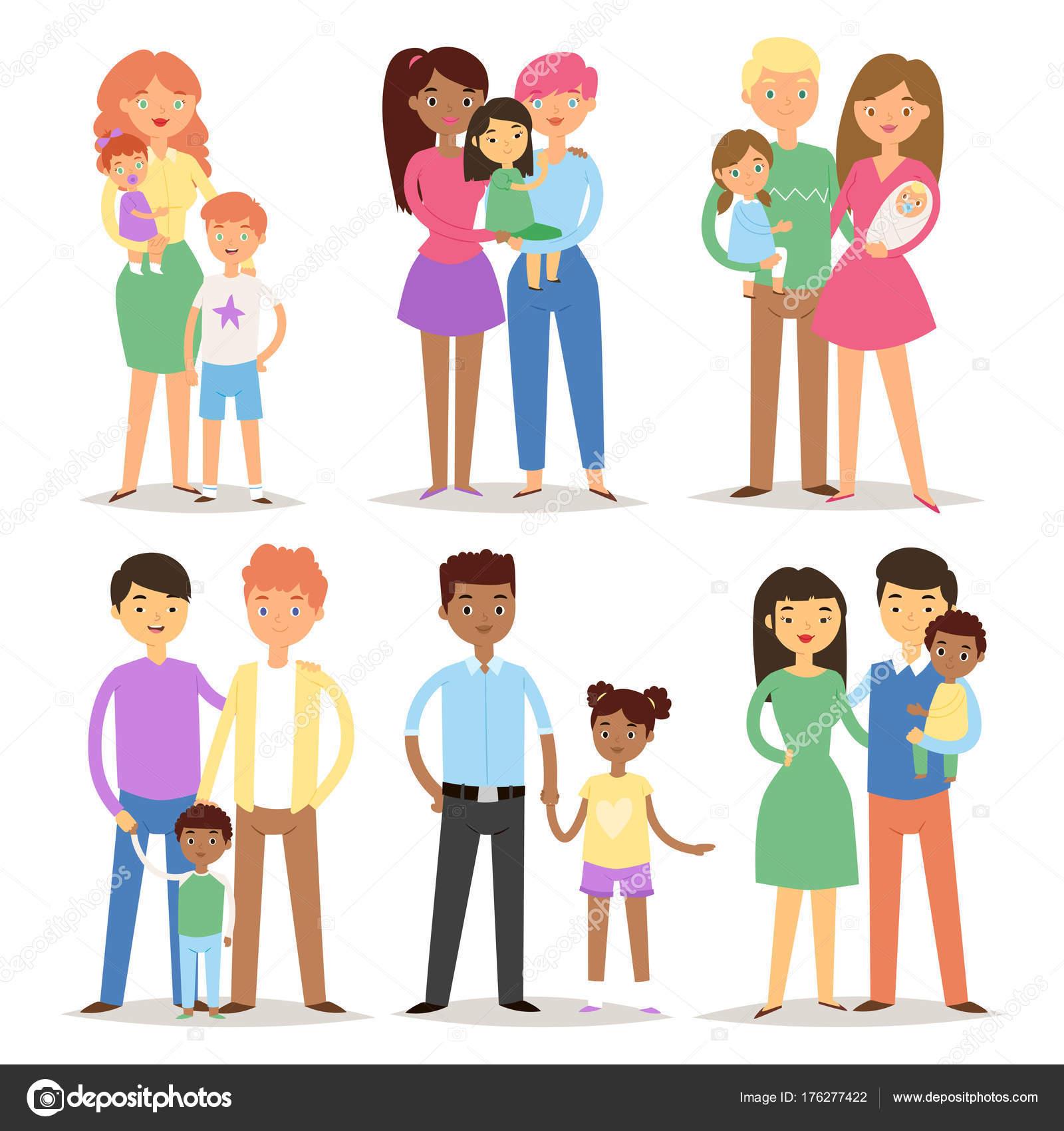 Mutlu farkl aile iftler karakterler anne baba bebek ok for Tipos de familia pdf