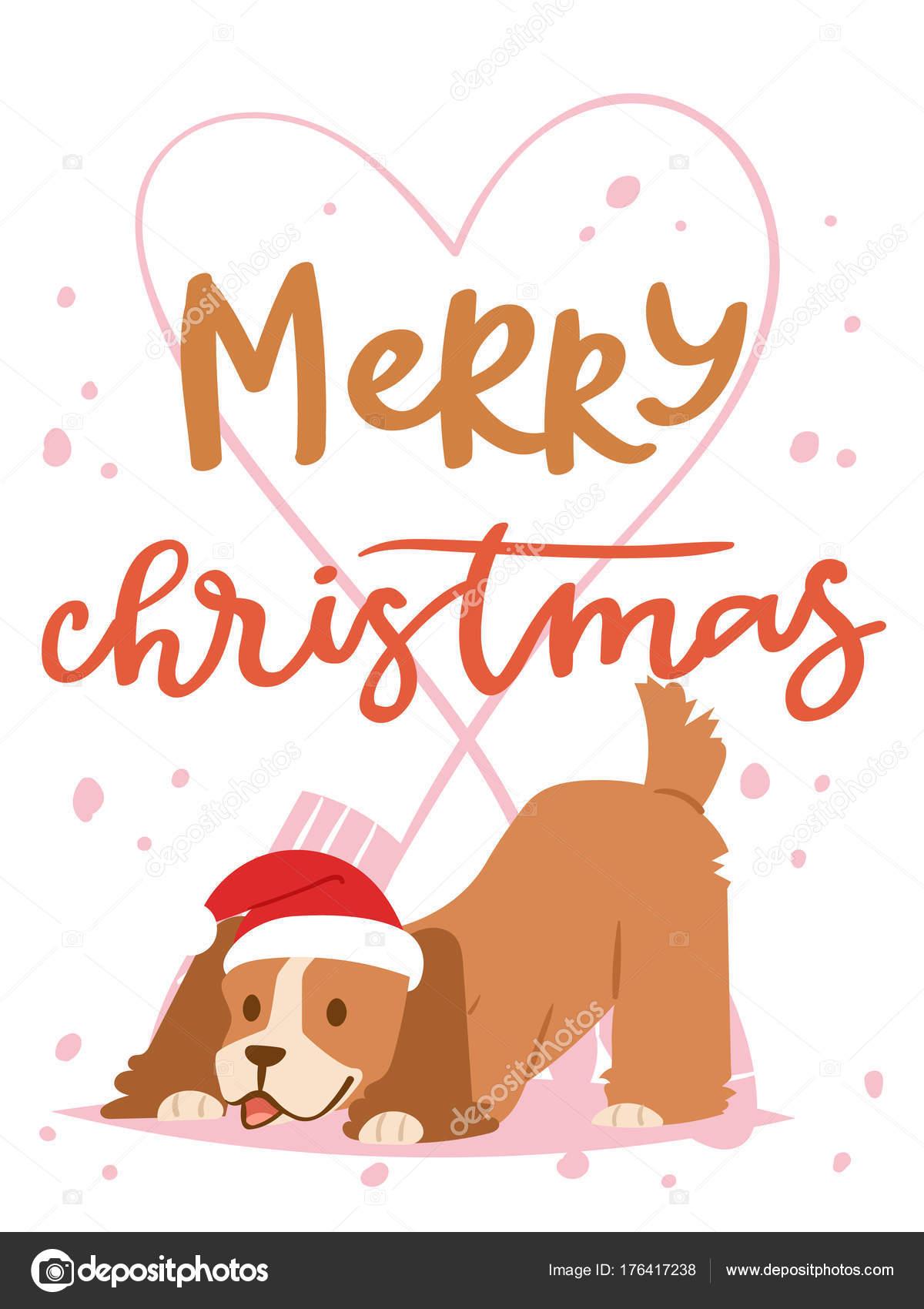 Christmas 2018 dog card vector cute cartoon puppy characters ...