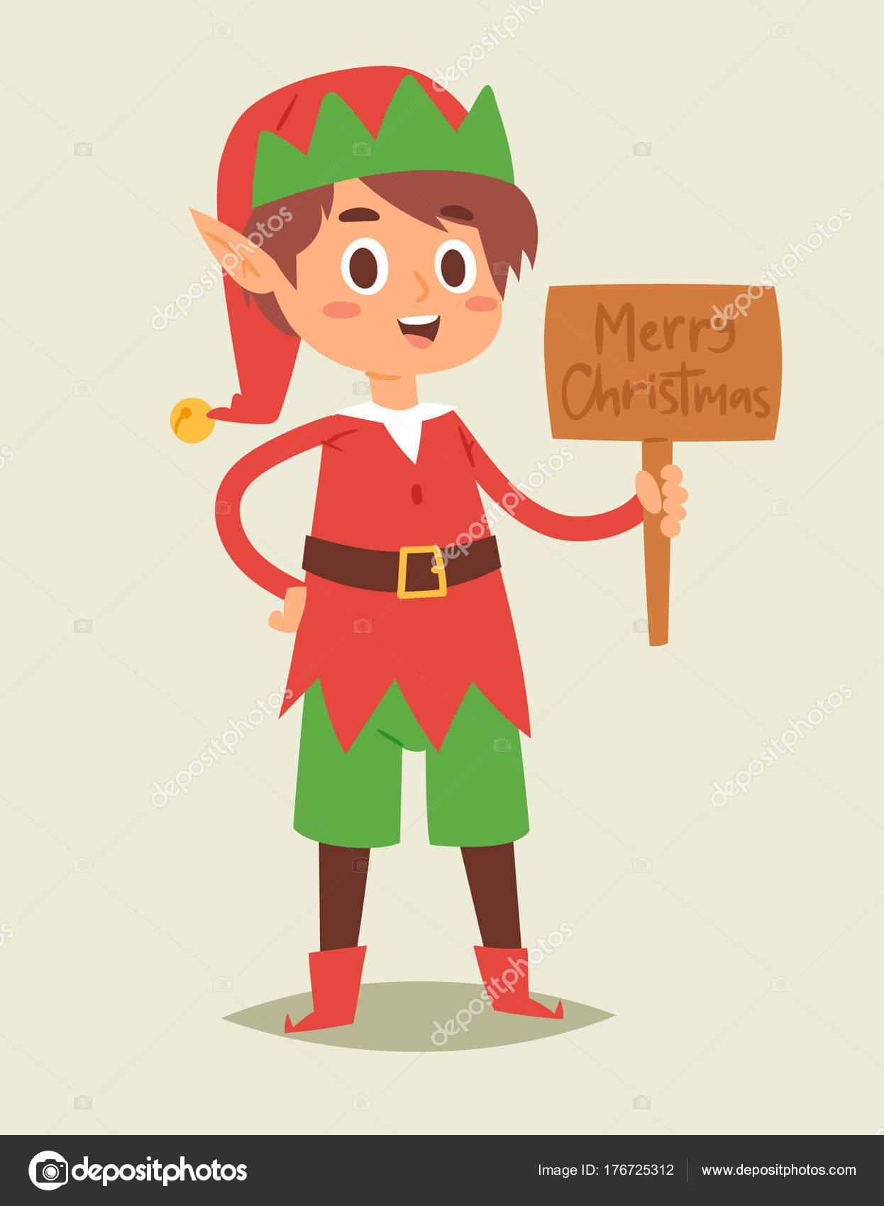 Elfos de Navidad niños a niños vector ayudantes de Santa Claus de ...