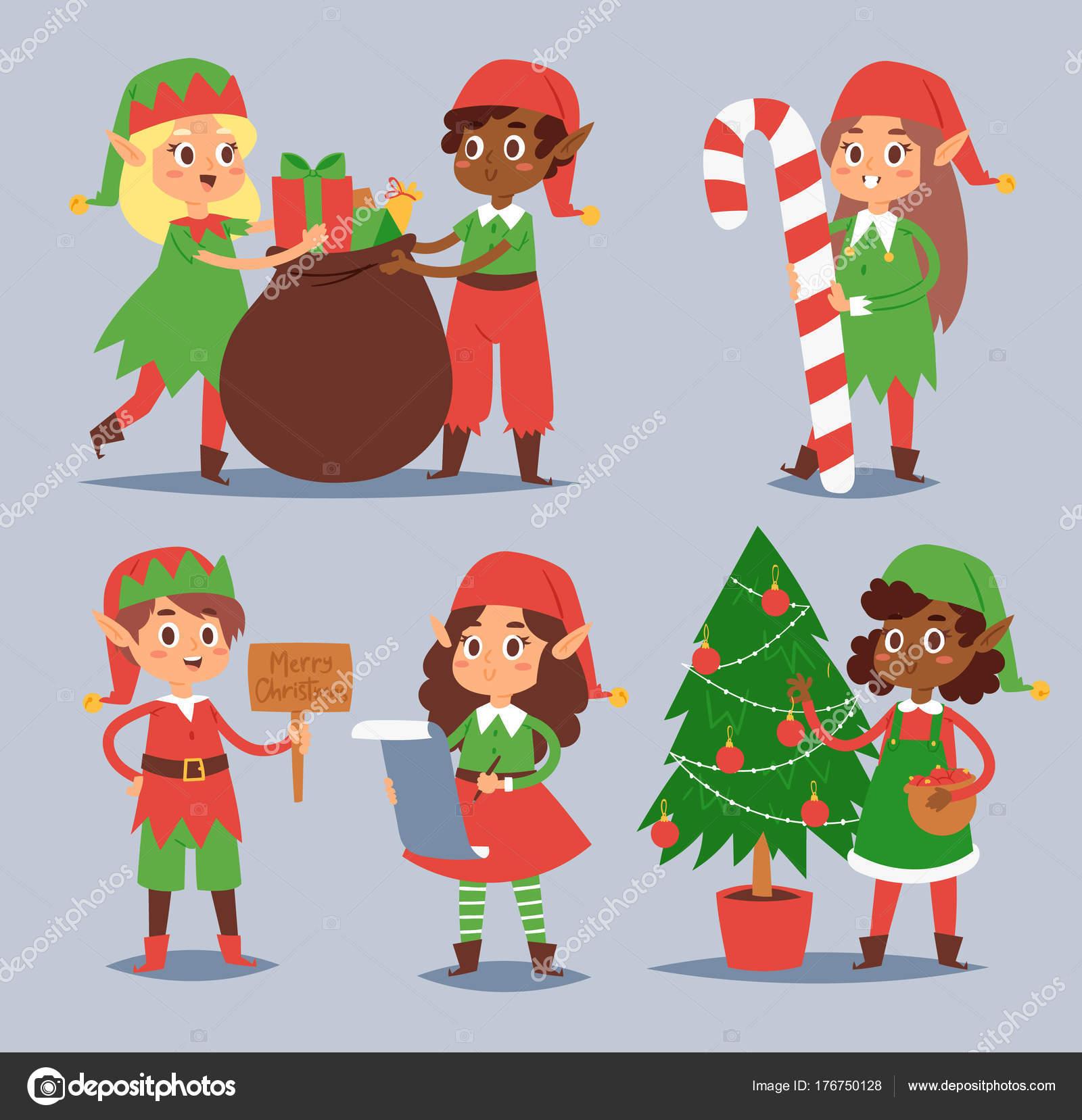 Immagini Di Folletti Di Babbo Natale.Folletti Di Natale Bambini Bambini Di Vettore Aiutanti Di