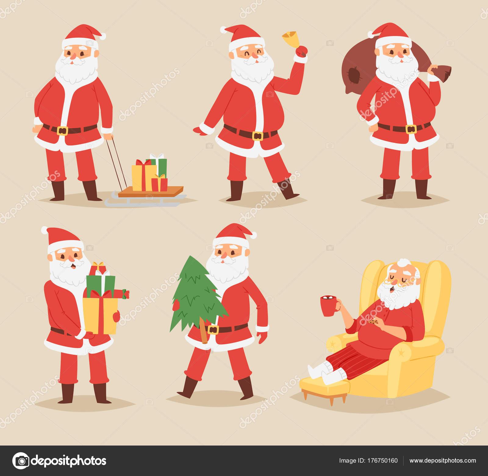 Weihnachten Weihnachtsmann Vektor Charakter stellt Abbildung Xmas ...