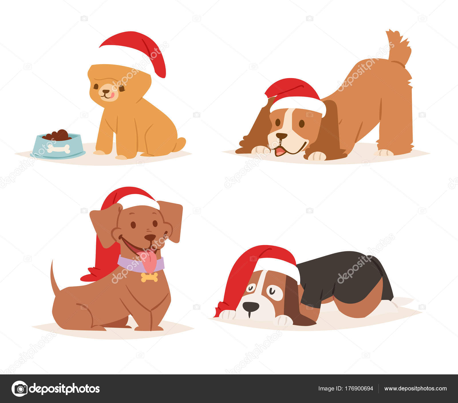 Christmas Dog Vector Cute Cartoon Puppy Characters Illustration Home Pets Doggy Different Xmas Celebrate Poses In Santa Red Hat Stock Vector C Vectorshow 176900694