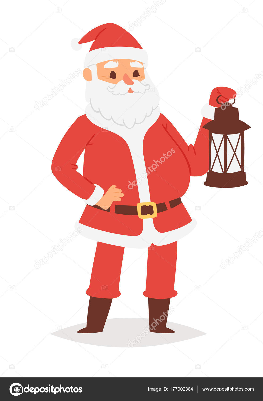 55e0a57aa36bb Christmas Santa Claus vector character pose illustration Xmas man in red  traditional costume and Santa hat– stock illustration