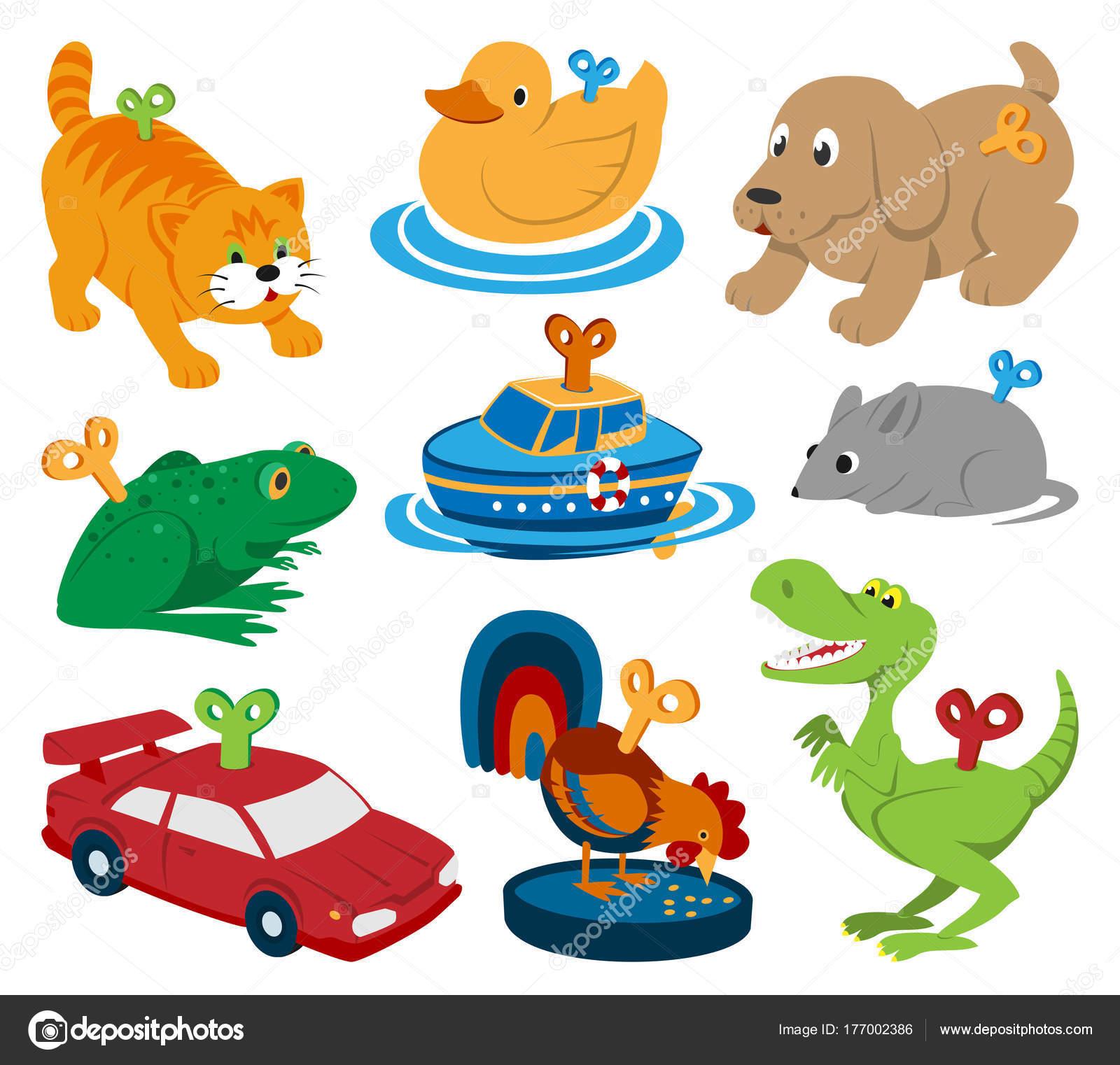 Kids vector toys clockwork key mechanism mechanic cartoon animals