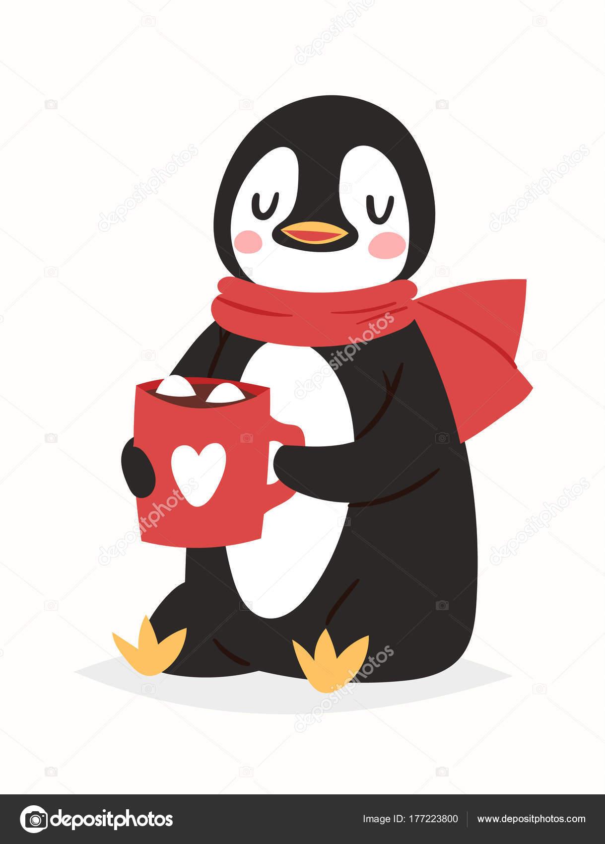 Animado Pinguino Navideño Navideños Pingüino Vector Carácter De