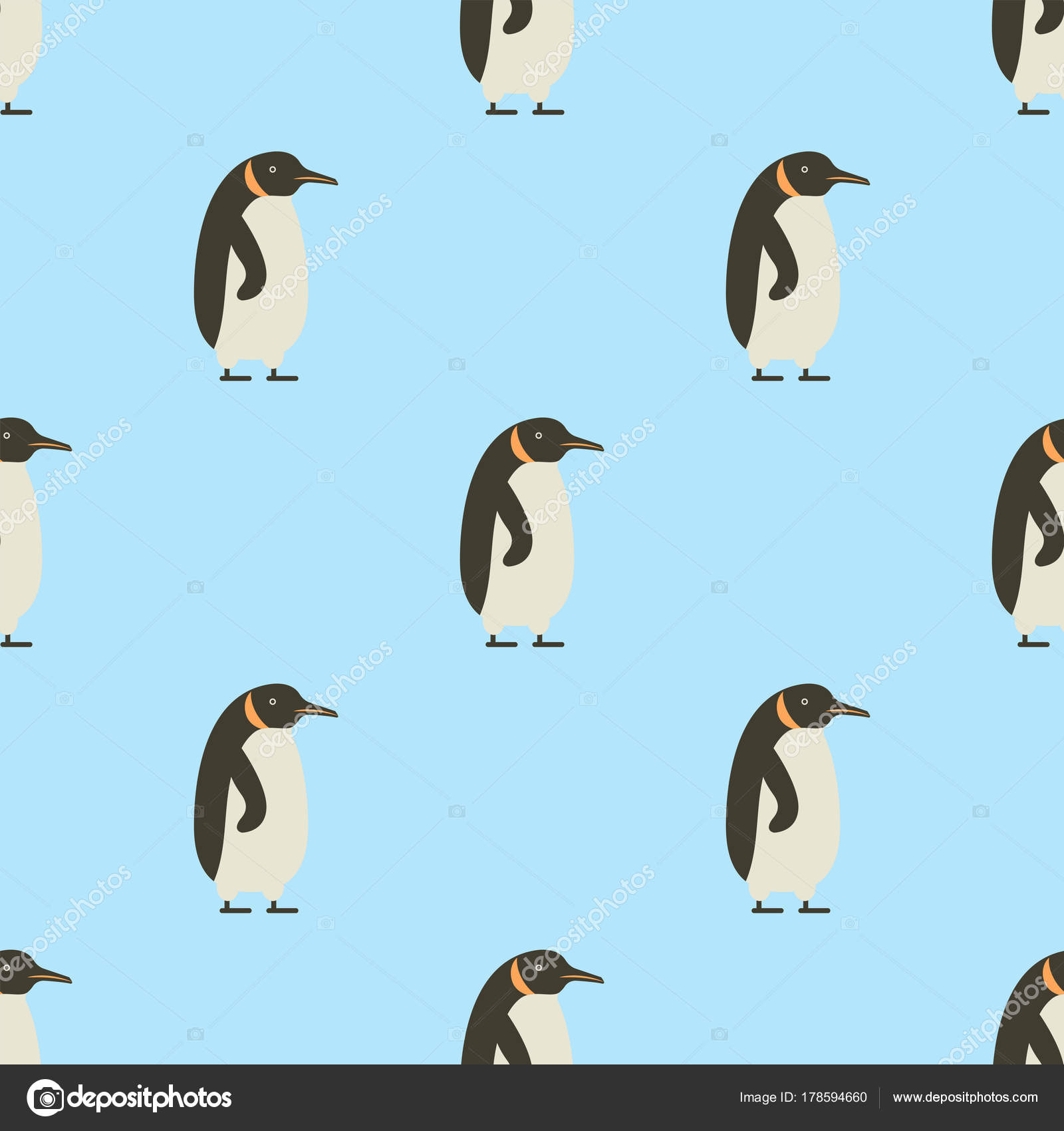 Endless Seamless Pattern Of Penguins On Blue Background Winter Cute Baby Bird Decoration Funny Cartoon Cold Ice Animal Wallpaper Vector Illustration