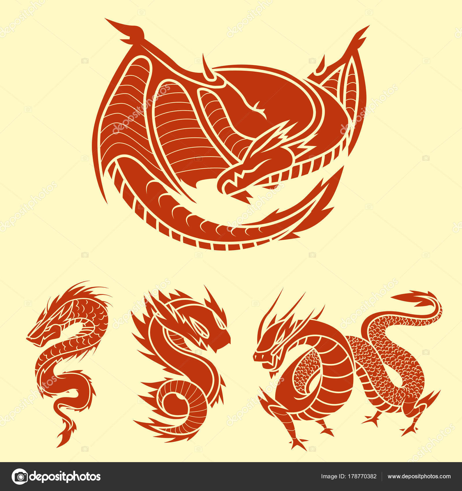 Chinese Dragon Silhouettes Tattoo Mythology Tail Monster Magic Icon