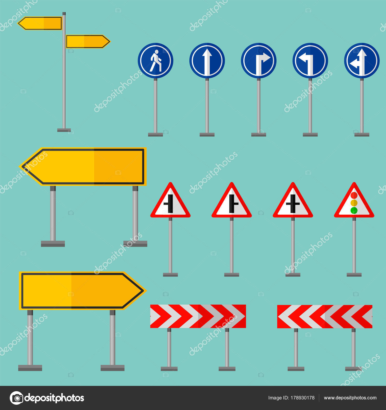 road symbols traffic signs graphic elements information vector