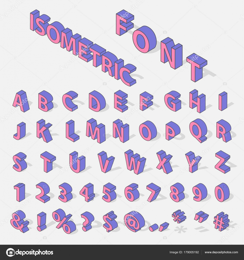 Isometric Alphabet Typerface Characters Symbols Old Style Retro