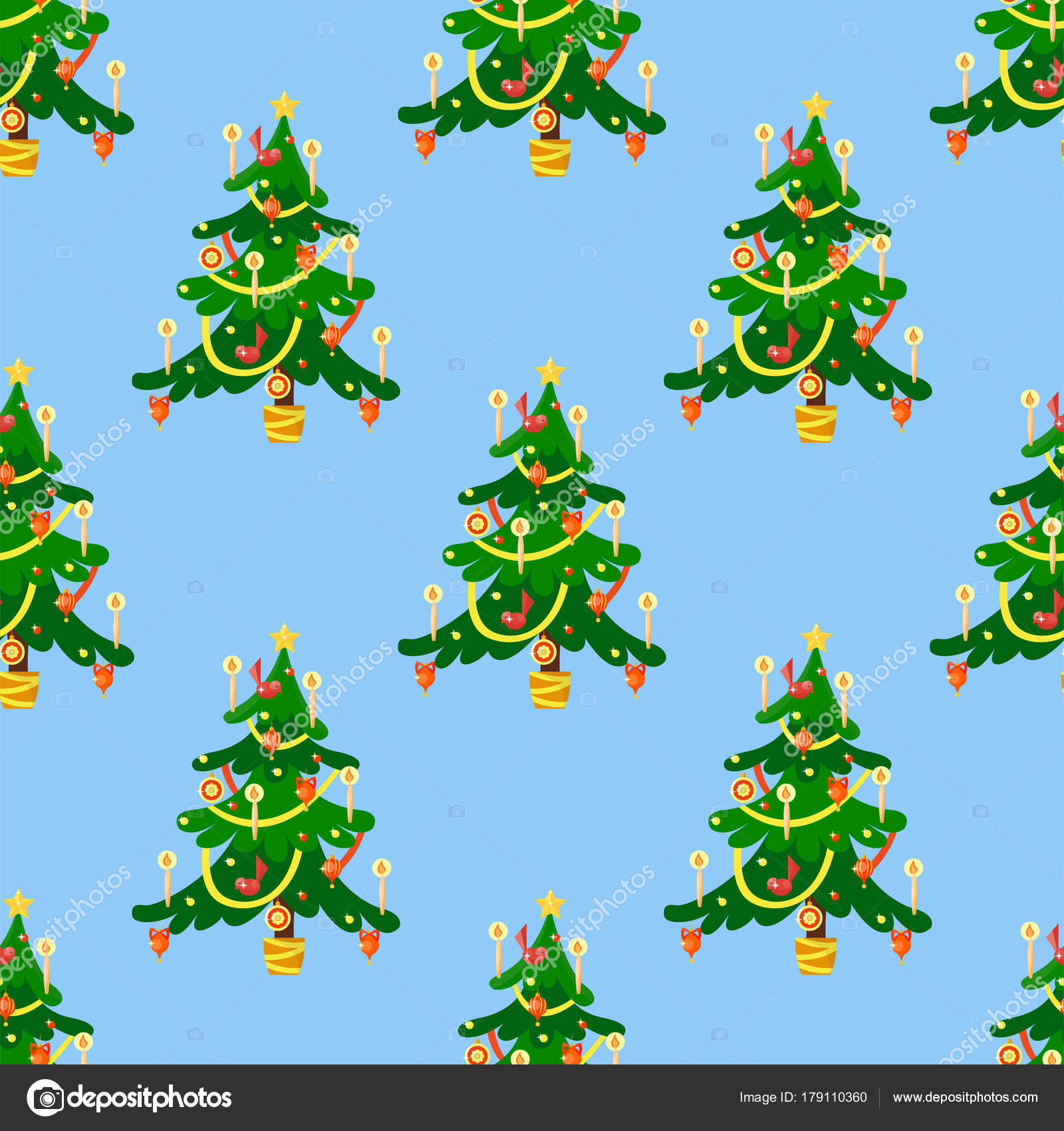 Pine Tree Cartoon Groene Winter Vakantie Naald Naadloze Patroon