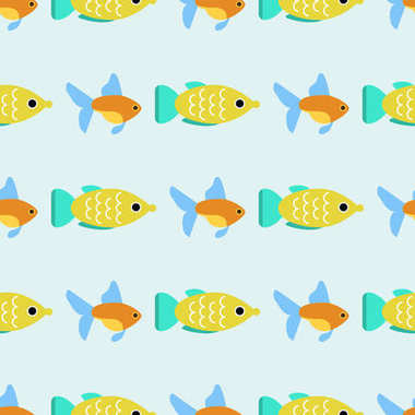 Exotic tropical fish race seamless pattern underwater ocean species aquatic strain nature flat vector illustration.
