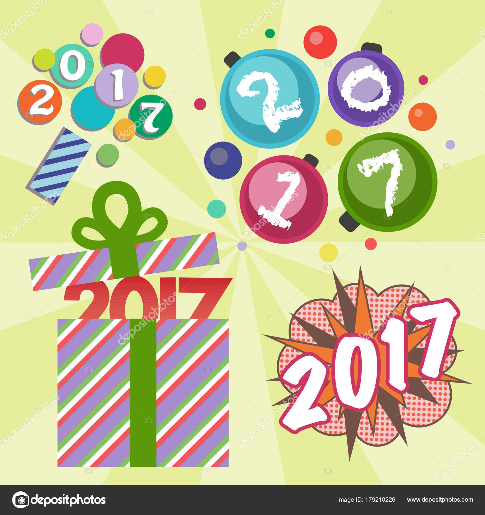 happy new year 2017 text design vector creative graphic celebration greeting party date illustration stock