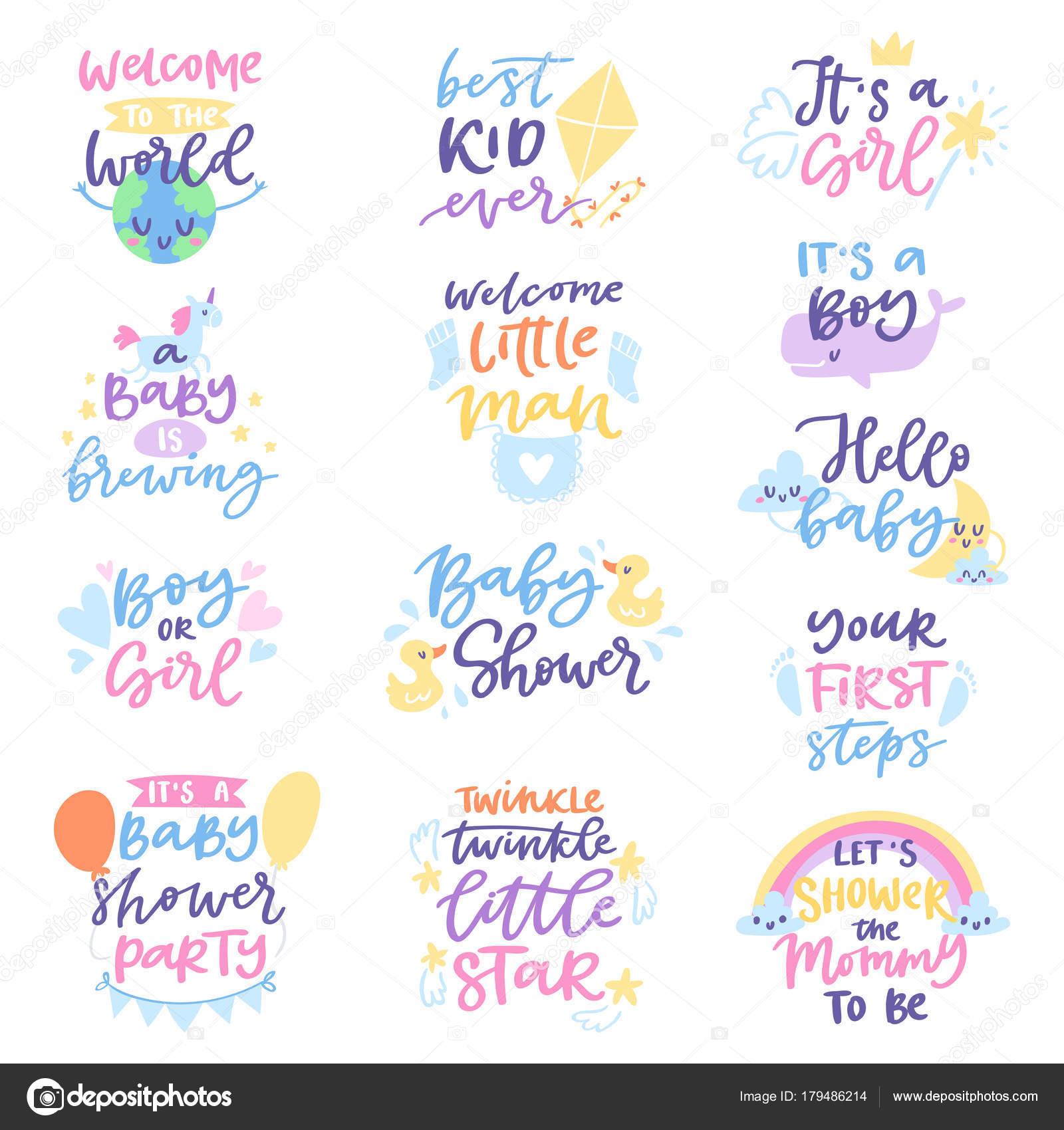 Imágenes Tipografías Infantiles Bebé Ducha Signo Vector