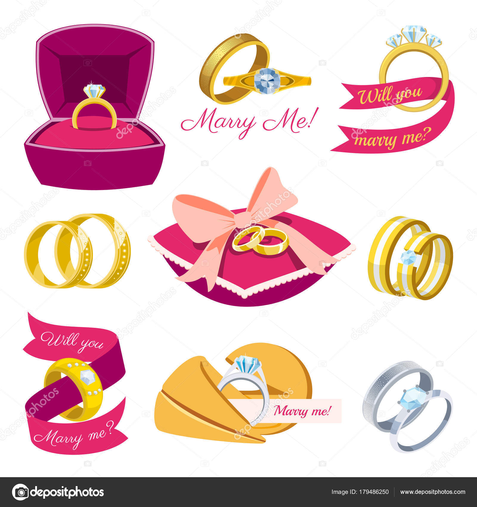 Wedding rings vector engagement symbol gold silver jewellery for ...