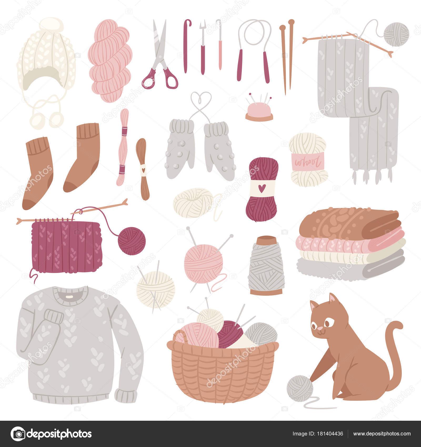 Vector de agujas de tejer prendas de lana o suéter de lana tejido y ...