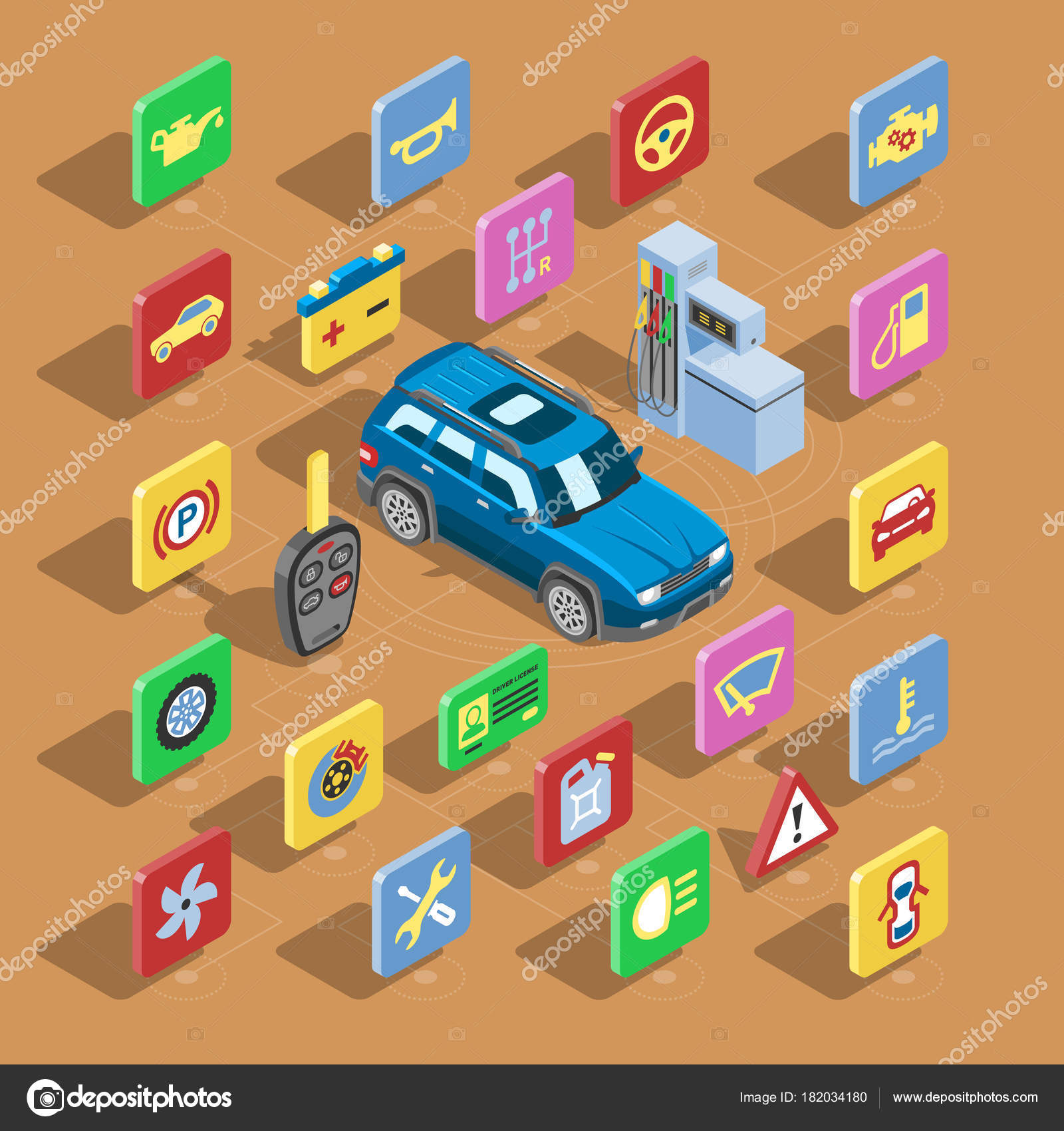Car automotive icons vector isometric automobile service sign ...