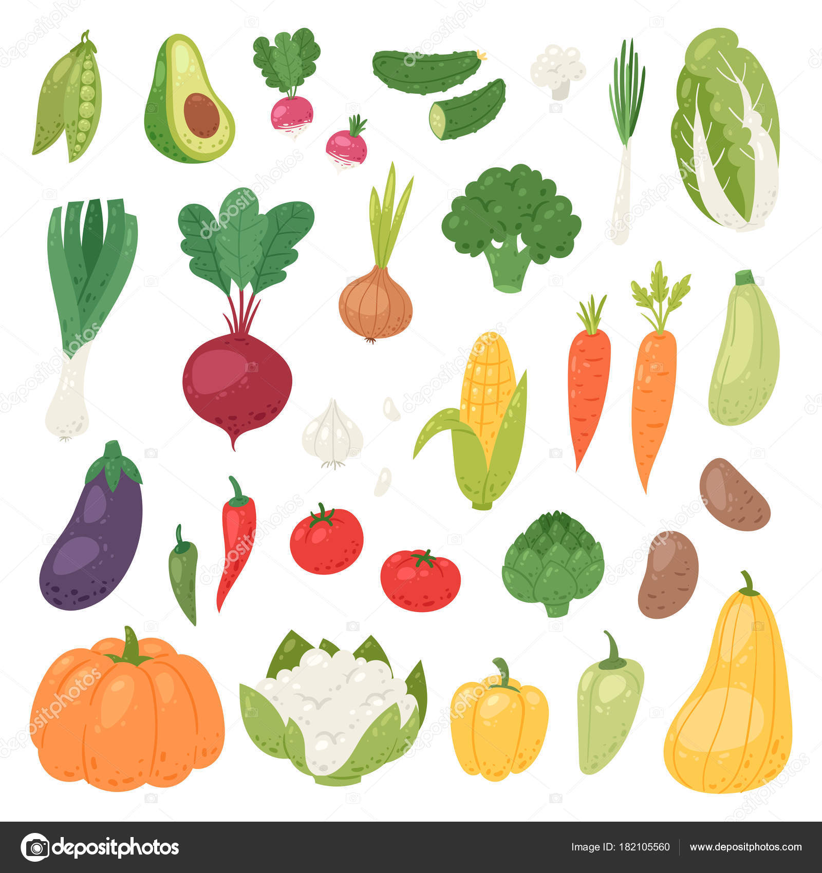 Vegetables vector healthy nutrition of vegetably tomato pepper and ...