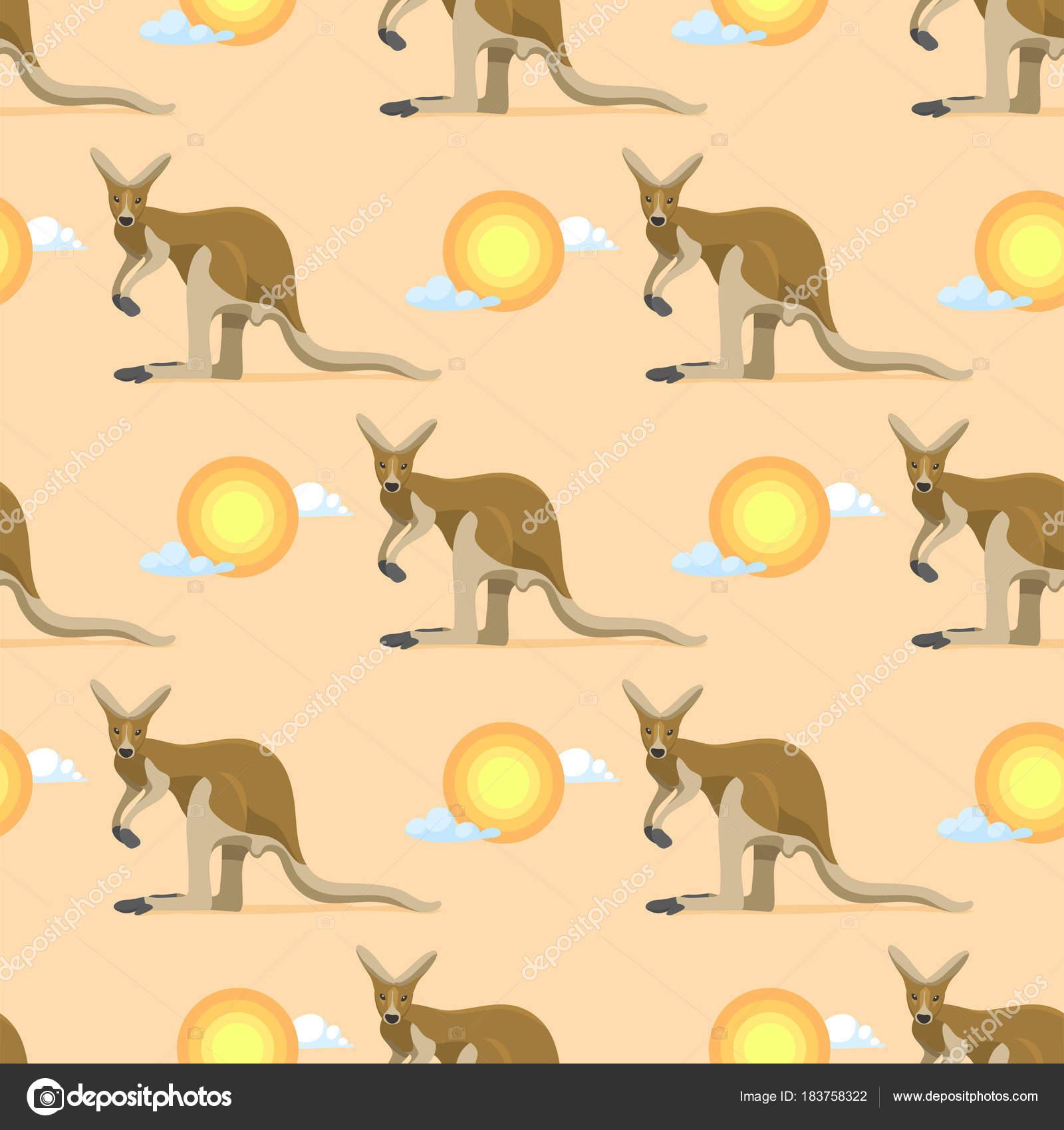 オーストラリアの動物カンガルー オーストラリア、風景や背景のイラスト