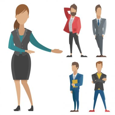 Business vector people man and woman full length of professional portrait community of busnessman and businesswoman characters illustration.