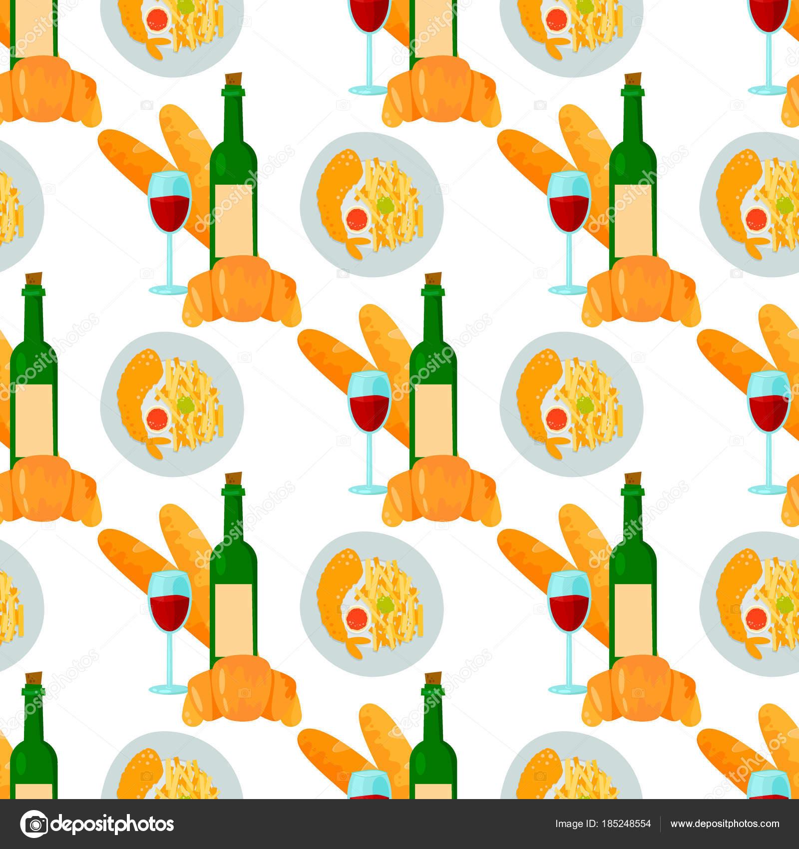 Französische Küche Croissant Wein Glas Musterdesign Hintergrund ...