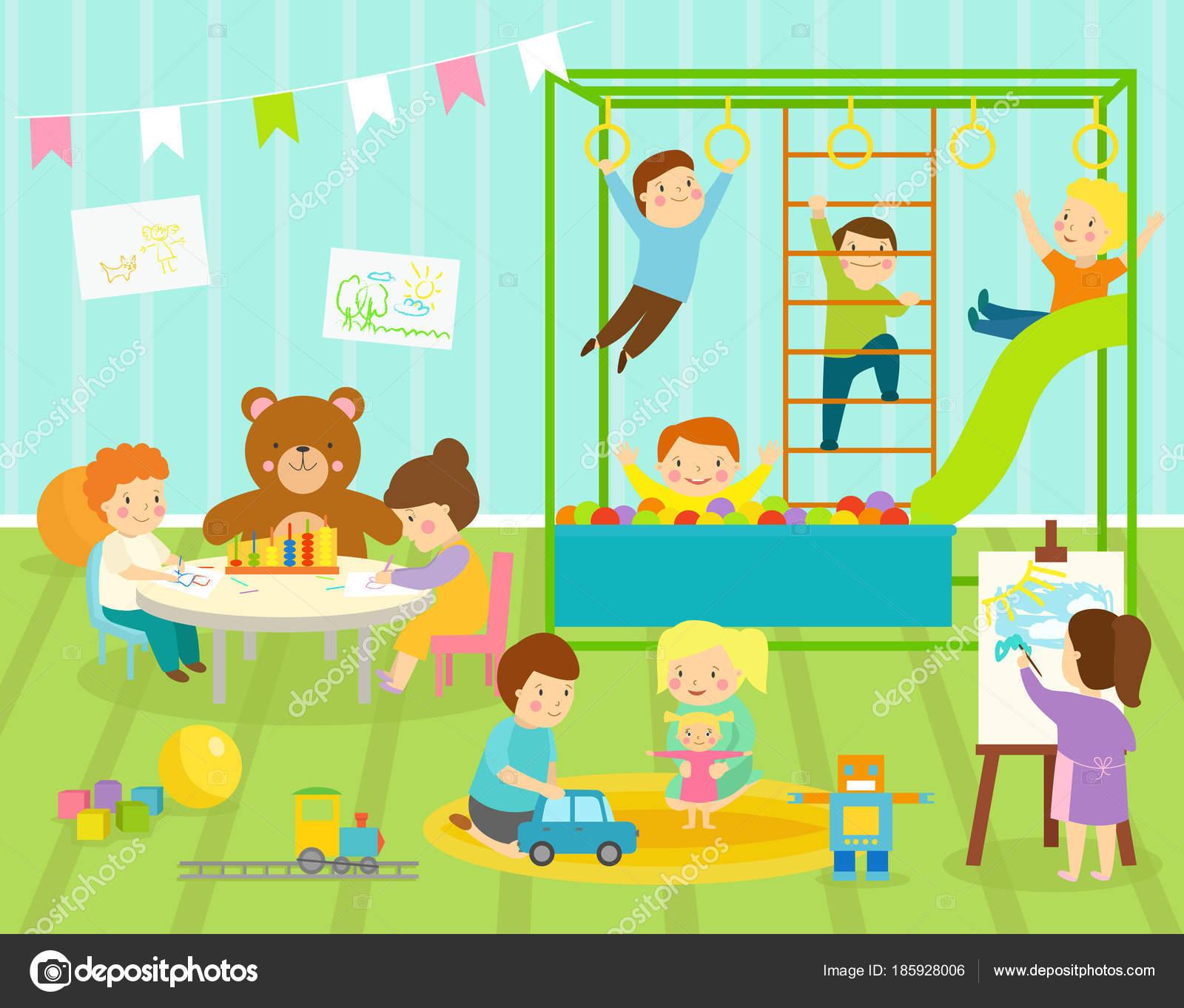 Niño niños vector sala de jardín de infantes con diapositiva grande ...