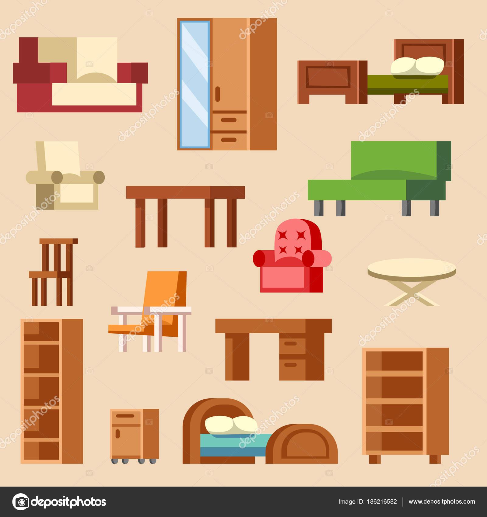 Arredi mobili interni domestici vettoriale progettazione della ...