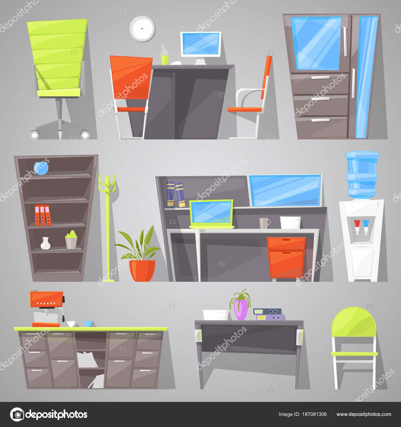 Büroeinrichtung Möbel Vektor-design Tisch Stuhl oder Sessel in ...