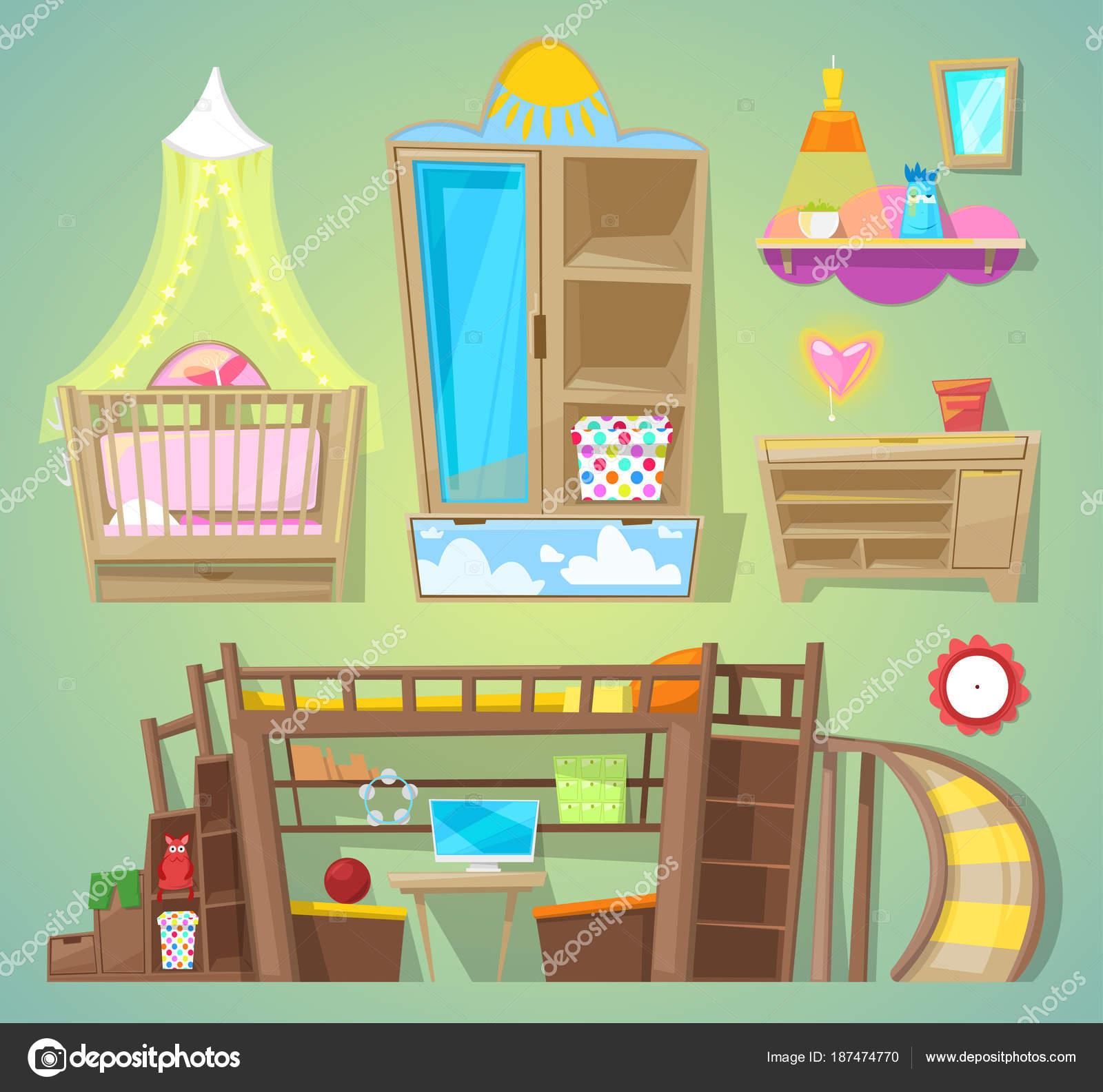 Sala de juegos vector niños muebles cama en amueblado interior de ...